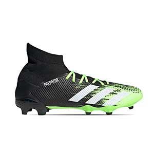 adidas Predator 20.3 FG - Botas de fútbol con tobillera adidas FG para césped natural o artificial de última generación - verde lima y negras - suels