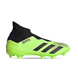 adidas Predator 20.3 LL FG - Botas de fútbol con tobillera sin cordones adidas FG para césped natural o artificial de última generación - verde lima y negras - pie derecho