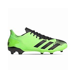 adidas Predator 20.2 FG - Botas de fútbol adidas FG para césped natural o artificial de última generación - verde lima y negras - pie derecho