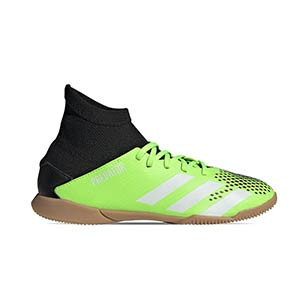 adidas Predator 20.3 IN J - Zapatillas de fútbol sala con tobillera infantiles adidas suela lisa IN - verde lima y negras - pie derecho