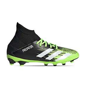 adidas Predator 20.3 MG J - Botas de fútbol con tobillera infantiles adidas MG para césped artificial - verde lima y negras - pie derecho