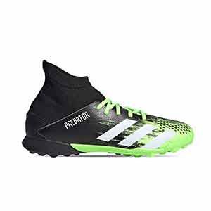 adidas Predator 20.3 TF J - Zapatillas de fútbol multitaco con tobillera infantiles adidas suela turf - verde lima y negras - pie derecho