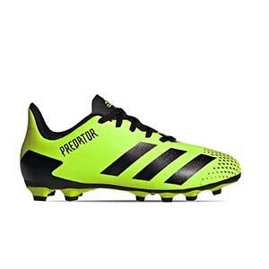 adidas Predator 20.4 FxG J - Botas de fútbol infantiles adidas FxG para multiples terrenos - verde lima y negras - pie derecho
