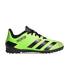 adidas Predator 20.4 TF J - Zapatillas de fútbol multitaco infantiles adidas suela turf - verde lima - pie derecho