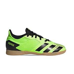 adidas Predator 20.4 IN Sala J - Zapatillas de fútbol sala para niño adidas suela lisa IN - verde lima - pie derecho