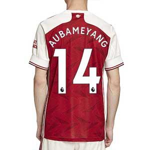Camiseta adidas Aubameyang Arsenal 2020 2021 - Camiseta primera equipación de Pierre-Emerick Aubameyang del Arsenal 2020 2021 - roja y blanca - trasera