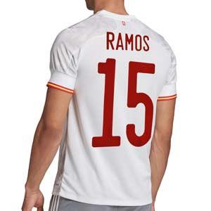Camiseta adidas Ramos 2a España 2020 2021 - Camiseta segunda equipación Ramos selección española 2020 2021 - blanca grisácea - frontal