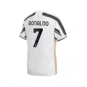 Camiseta adidas niño Juventus Ronaldo 2020 2021 - Camiseta infantil primera equipación Cristiano Ronaldo adidas de la Juventus 2020 2021 - blanca y negra - trasera