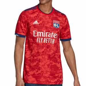 Camiseta adidas 2a Olympique Lyon 2021 2022 - Camiseta segunda equipación adidas del Olympique de Lyon 2021 2022 - roja - frontal