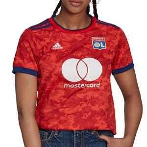 Camiseta adidas 2a mujer Olympique Lyon 2021 2022 - Camiseta segunda equipación de mujer adidas del Olypique de Lyon 2021 2022 - roja - frontal
