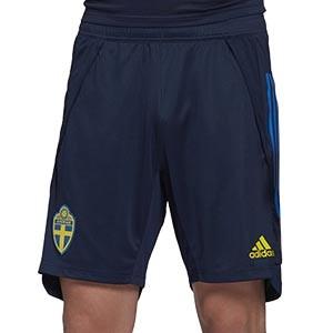 Short adidas Suecia entreno 2020 2021 - Pantalón corto de entrenamiento selección sueca 2020 2021 - azul marino - frontal