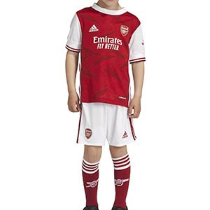 Equipación adidas niño pequeño Arsenal 2020 2021 - Conjunto infantil 1-6 años primera equipación adidas Arsenal FC 2020 2021 - rojo y blanco - frontal