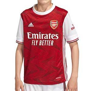 Camiseta adidas Arsenal niño 2020 2021 - Camiseta infantil primera equipación adidas del Arsenal FC 2020 2021 - roja y blanca - frontal