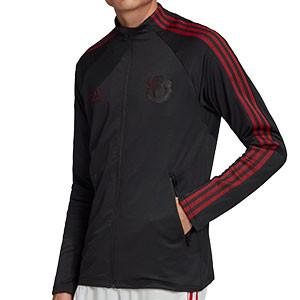 Chaqueta adidas United himno 2020 2021 - Chaqueta chándal himno adidas Manchester United 2020 2021 - negra - frontal