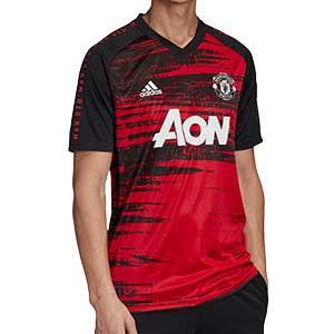 Camiseta adidas United pre-match 2020 2021 - Camiseta de calentamiento pre partido Manchester United 2020 2021 - roja y negra - frontal