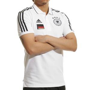 Polo adidas Alemania 3S - Polo de algodón adidas de la selección alemana - blanco - frontal