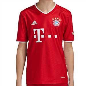 Camiseta adidas Bayern niño 2020 2021 - Camiseta infantil adidas primera equipación Bayern de Munich 2020 2021 - roja - frontal