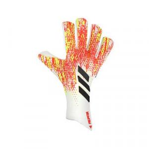 adidas Predator Pro FingerSave - Guantes de portero profesionales con protecciones adidas - blanco y rojos - frontal derecho