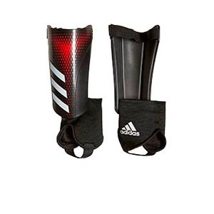 adidas Predator SG Match J - Espinilleras de fútbol infantiles adidas con tobillera protectora - negras y rojas - frontal