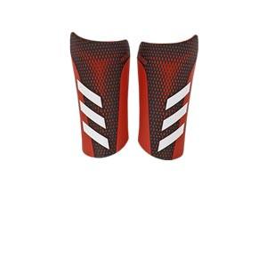 adidas Predator League - Espinilleras de fútbol adidas con mallas de sujeción - negras y rojas - frontal