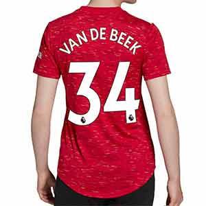 Camiseta adidas Van de Beek United mujer 2020 2021 - Camiseta de mujer primera equipación Donny van de Beek del Manchester United 2020 2021 - roja - trasera