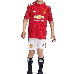Equipación adidas United niño 2020 2021 - Conjunto infantil 7-14 años primera equipación adidas Manchester United 2020 2021 - roja y blanca - frontal