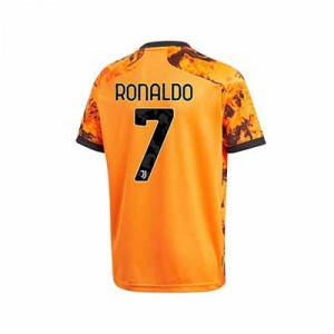 Camiseta adidas Ronaldo 3a Juventus niño 2020 2021 - Camiseta infantil tercera equipación Cristiano Ronaldo adidas Juventus 2020 2021 - naranja - trasera
