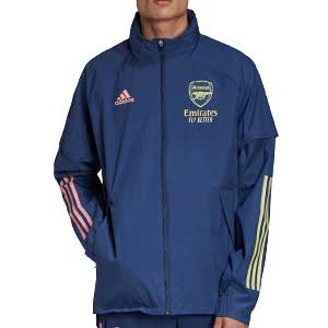 Cortavientos adidas Arsenal 2020 2021 All Weather - Cortavientos con capucha adidas Arsenal FC 2020 2021 - azul marino - frontal