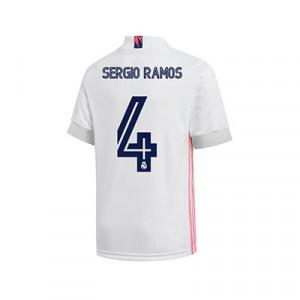 Camiseta adidas Sergio Ramos R Madrid niño 2020 2021 - Camiseta Sergio Ramos primera equipación infantil adidas Real Madrid 2020 2021 - blanca - trasers