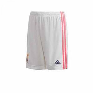 Short adidas Real Madrid niño 2020 2021 - Pantalón corto primera equipación infantil adidas Real Madrid 2020 2021 - blanco - frontal