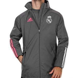 Cortavientos adidas Real Madrid 2020 2021 All Weather - Cortavientos con capucha adidas Real Madrid 2020 2021 - gris - frontal