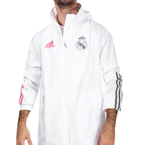 Cortavientos adidas Real Madrid 2020 2021 All Weather - Cortavientos con capucha adidas Real Madrid 2020 2021 - blanco - frontal