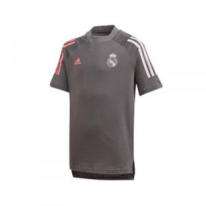 Camiseta algodón adidas Real Madrid niño - Camiseta algodón de paseo infantil adidas del Real Madrid 2020 2021 - gris - frontal