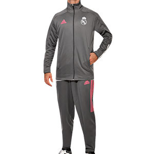 Chándal adidas Real Madrid 2020 2021 - Chándal de paseo adidas del Real Madrid 2020 2021 - gris - frontal