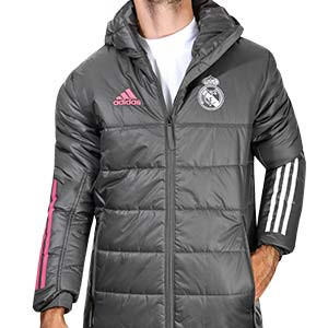 Abrigo adidas Real Madrid Winter - Anorak adidas Real Madrid 2020 2021 - gris - frontal