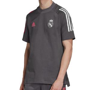Camiseta algodón adidas Real Madrid - Camiseta algodón de paseo adidas del Real Madrid 2020 2021 - gris - frontal
