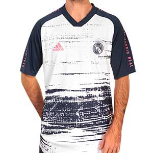 Camiseta adidas Real Madrid pre-match 2020 2021 - Camiseta pre partido adidas Real Madrid 2020 2021 - blanca y azul - frontal