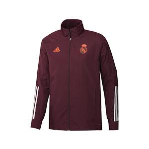 Chaqueta adidas Real Madrid 2020 2021 Presentación - Chaqueta de presentación adidas Real Madrid 2020 2021 - granate - frontal