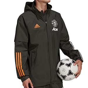 Cortavientos adidas United 2020 2021 All Weather - Cortavientos con capucha adidas Manchester United 2020 2021 - verde oscuro - frontal