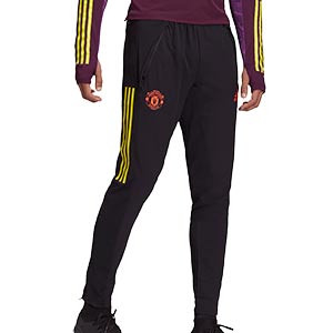 Pantalón adidas United entreno UCL 2020 2021 - Pantalón largo entrenamiento Champions League adidas Manchester United 2020 2021 - negro - frontal