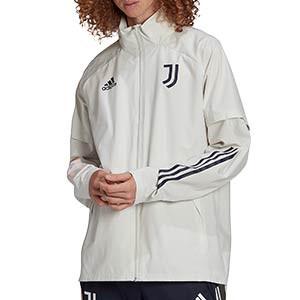 Chaqueta adidas Juventus All Weather - Chaqueta con capucha plegable adidas de la Juventus 2020 2021 - gris - frontal