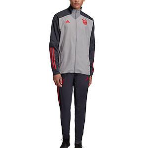 Chándal adidas Bayern UCL Presentación 2020 2021 - Chándal de paseo adidas del Bayern de Múnich 2020 2021 - gris - frontal