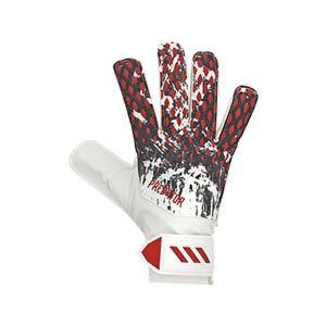 adidas Predator Neuer Training J - Guantes de portero infantiles adidas de Manuel Neuer corte positivo - blancos y rojos - frontal