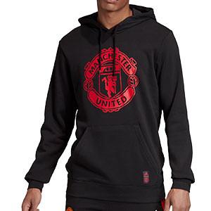Sudadera adidas United DNA Hoodie - Sudadera con capucha de paseo adidas del Manchester United - negra - frontal