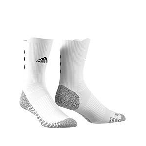 Calcetines adidas Alphaskin Traxion ultra finos - Calcetines de entrenamiento adidas media caña con tecnología antideslizante - blancos - frontal