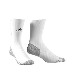 Calcetines adidas Alphaskin Traxion semi acolchados - Calcetines de entrenamiento adidas media caña con tecnología antideslizante - blancos - frontal