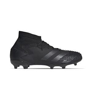 adidas Predator 20.1 FG J - Botas de fútbol con tobillera infantiles adidas FG para césped natural o artificial de última generación - negras - pie derecho