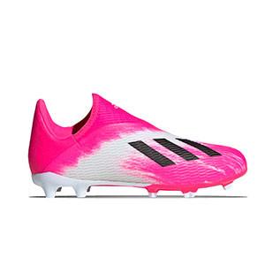 adidas X 19.3 LL FG J - Botas de fútbol sin cordones infantiles adidas FG para césped natural o artificial de última generación - rosas y blancas - derecho