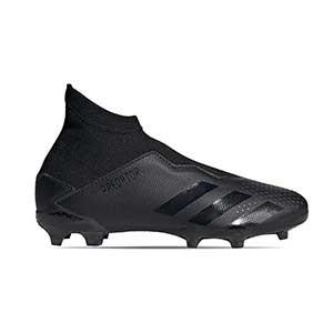 adidas Predator 20.3 LL FG J - Botas de fútbol con tobillera sin cordones infantil adidas FG para césped natural o artificial de última generación - negras - derecho