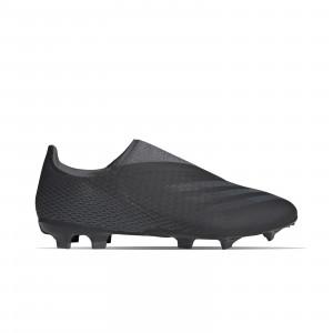 adidas X GHOSTED.3 LL FG - Botas de fútbol sin cordones adidas FG para césped natural o artificial de última generación - negras - pie derecho